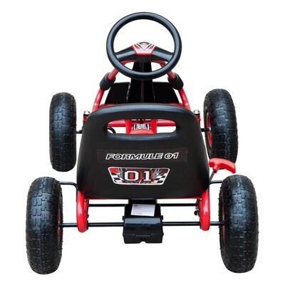 HOMCOM® Go Kart Kinderfahrzeug Tretauto mit Pedal für 3-8 Jahre Stahl Gummireifen