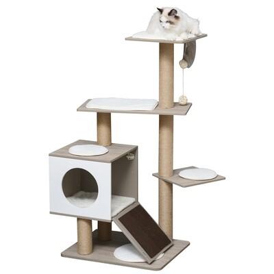 PawHut® Kratzbaum Katzenbaum mit Katzenhöhle Rampe Weichkissen E1 MDF Hellgrau