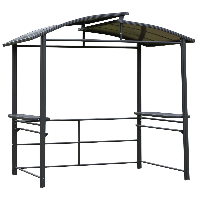 Outsunny® Grillpavillon mit Flammschutzdach BBQ-Pavillon mit 2 Ablagen Stahl PC Dunkelgrau