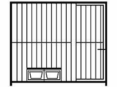Restposten: Hundezwinger Rohrstabelement Preisstar mit Tür und Futterset, 1,84 x 2,0 m | Rohrabstand 8 cm