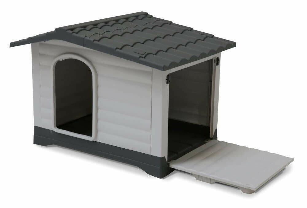 Kunststoff Hundehütte mit Satteldach, grau/anthrazit, Eingang Längsseite