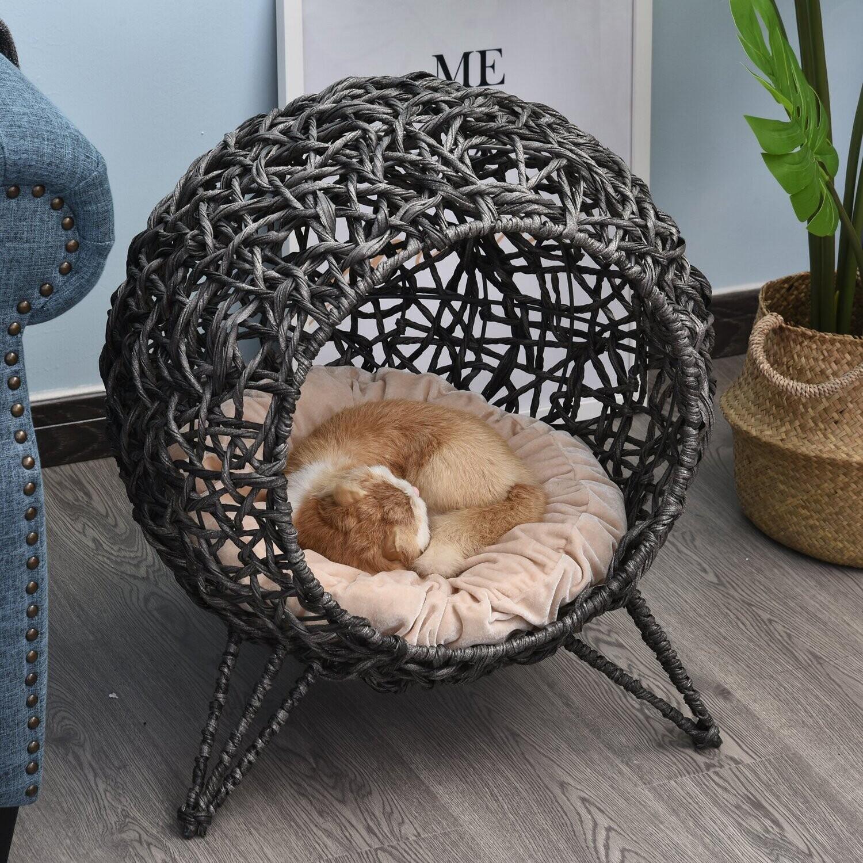 PawHut® Katzenhaus Katzenhöhle Katzenkorb geflochten, Katzenbett mit Kissen mit Füße Korbhöhle PVC