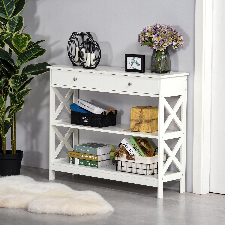 HOMCOM® Konsolentisch mit Schublade und 2-Regale MDF Weiß X-Rahmen Eingangsbereich