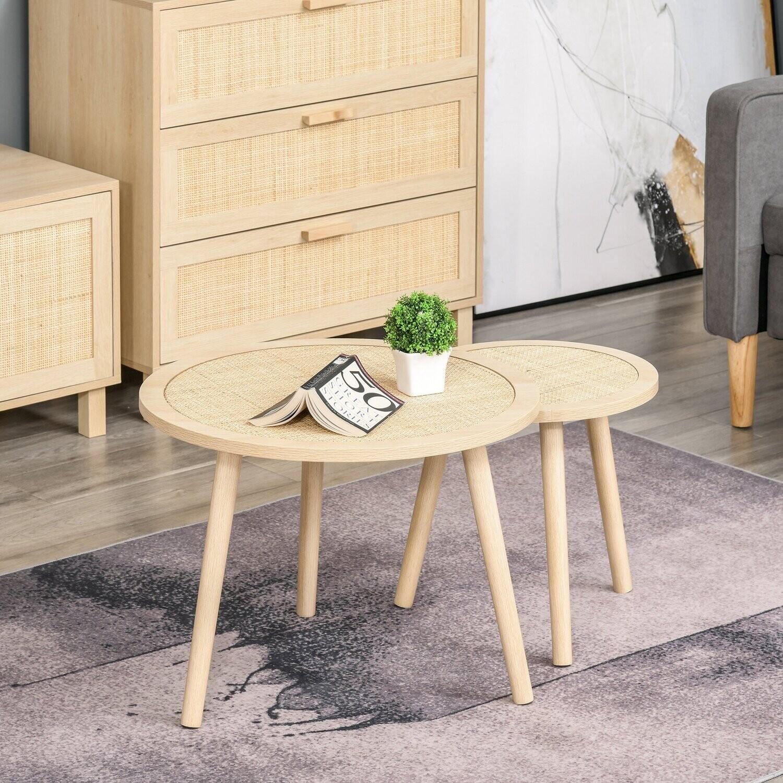 HOMCOM® 2er Set Couchtisch mit Rattan-Tischplatte Stapeltisch Beistelltisch MDF Natur