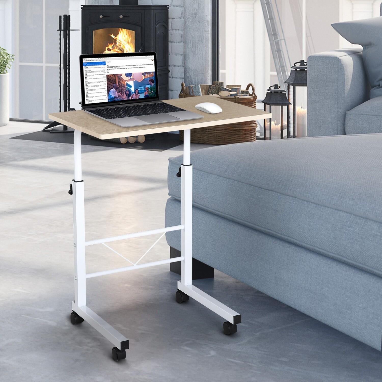 HOMCOM® Beistelltisch höhenverstellbar C-Tische mobil Spanplatte Weiße Ahornfarbe