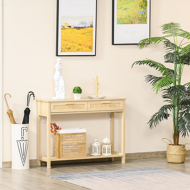 HOMCOM® Konsolentisch Beistelltisch mit 2 Schubladen Sideboard Rattan-Design MDF