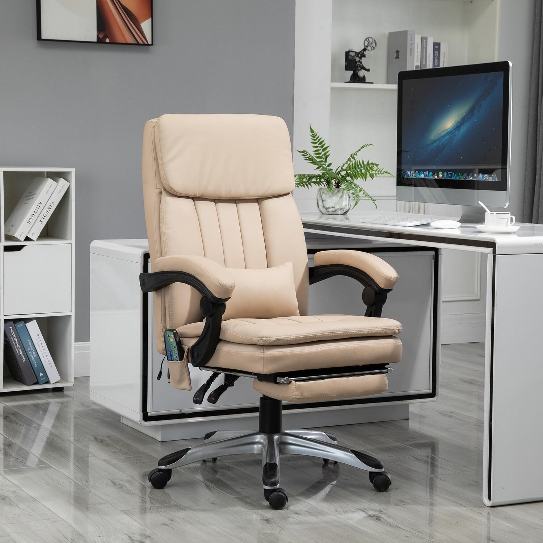 Vinsetto® Massage Bürostuhl Home-Office-Stuhl Höhe und Winkel einstellbar Kunstleder