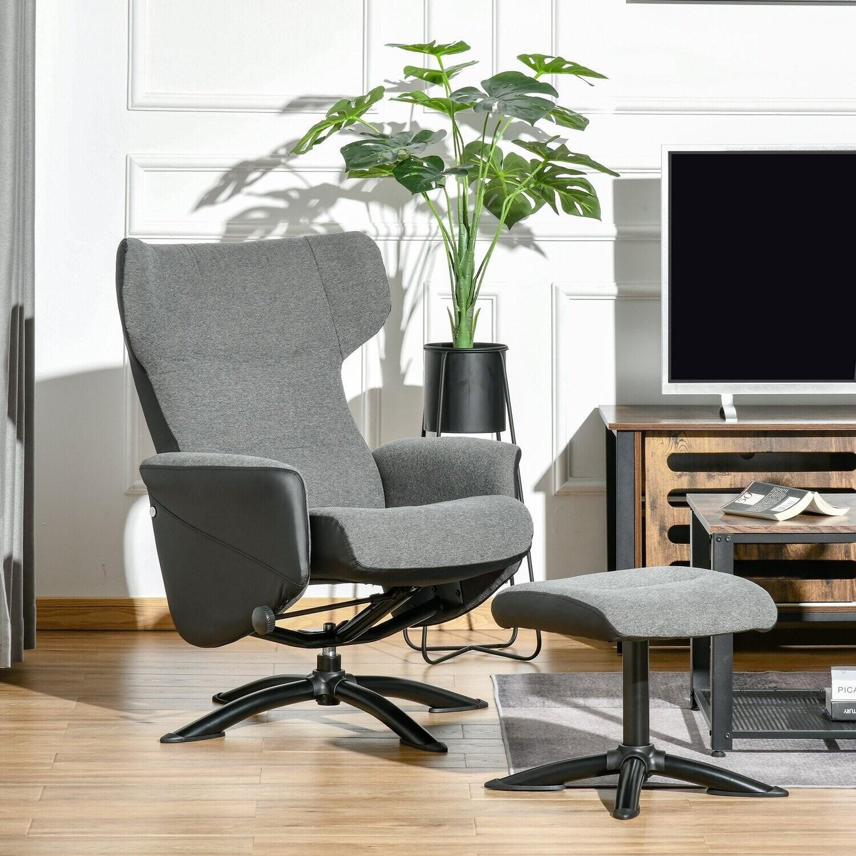 HOMCOM® Relaxsessel Liegesessel Ruhesessel mit Fussstütze und Couch 360° drehbar Grau