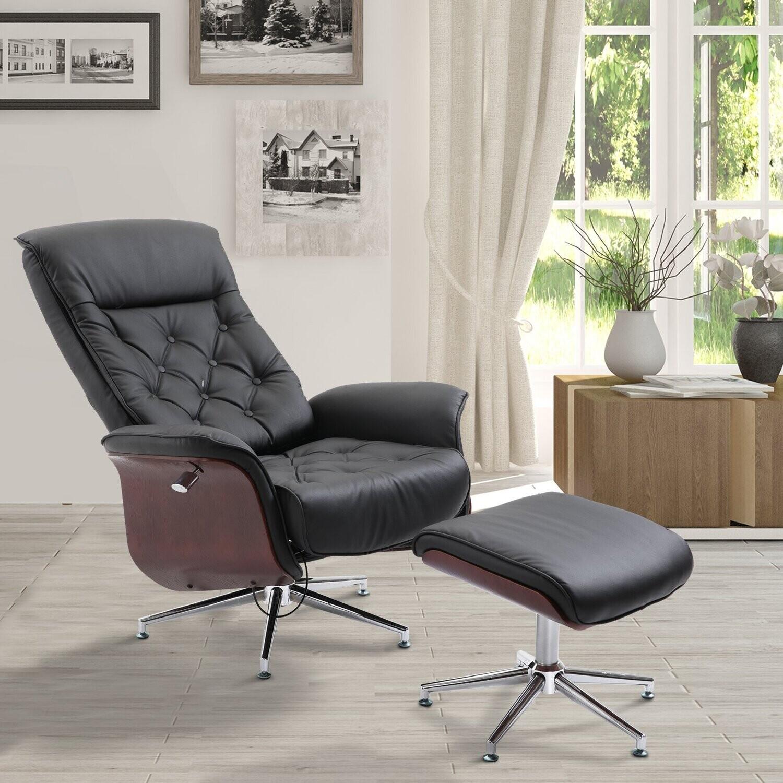 HOMCOM® Relaxsessel mit Hocker Fernsehsessel Polstersessel PU-Bezug Holzverkleidung Metallfuß Schwarz