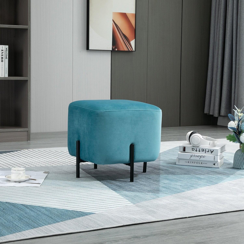 HOMCOM® Fußhocker Fußstütze für Wohnzimmer gepolstert Polyester Stahl Türkis