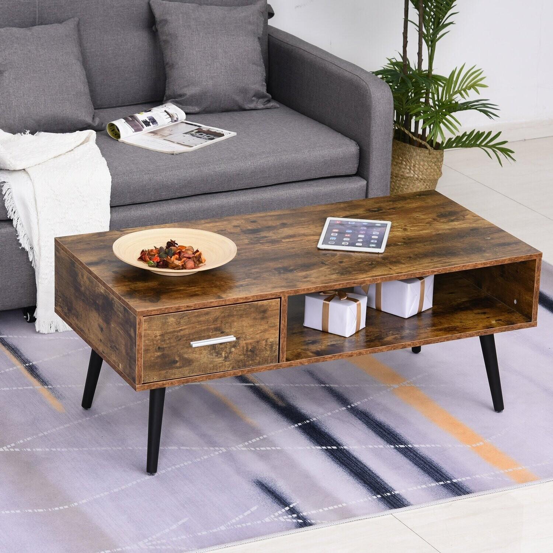 HOMCOM® Couchtisch Wohnzimmertisch Kaffeetisch mit Schublade Offenem Regal Holz