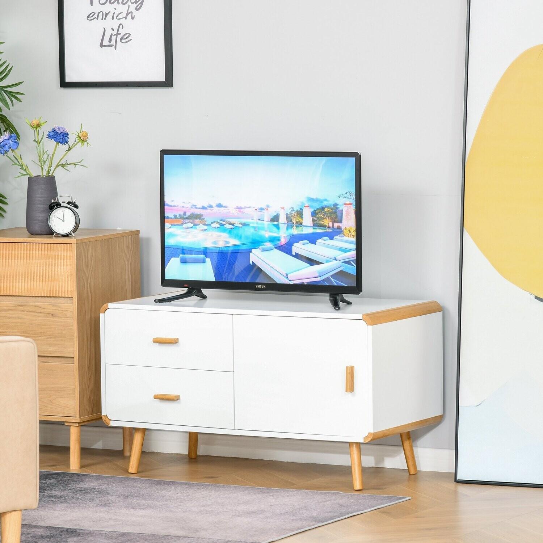 HOMCOM® TV Schrank TV-Kommode mit 2 Schubladen und Schrank Bambus MDF Weiss+Natur