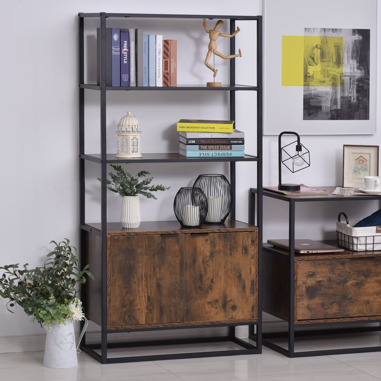 HOMCOM® Bücherregal Standregal Büroregal 3 Regale mit 1 Schrank Industrie-Design