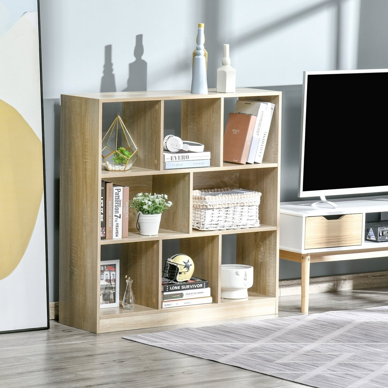 HOMCOM® Bücherregal 3-stöckige Bücherregal Büroregal Home-Office MDF Naturl