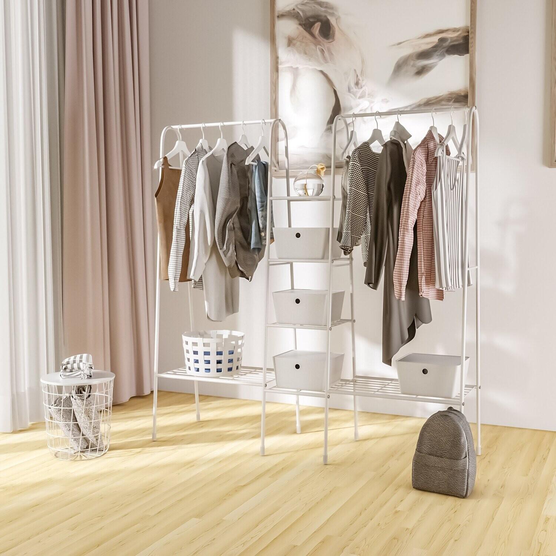 HOMCOM® Garderobenständer mit 6 Ablagen Kleiderschrank Weiss Stahl