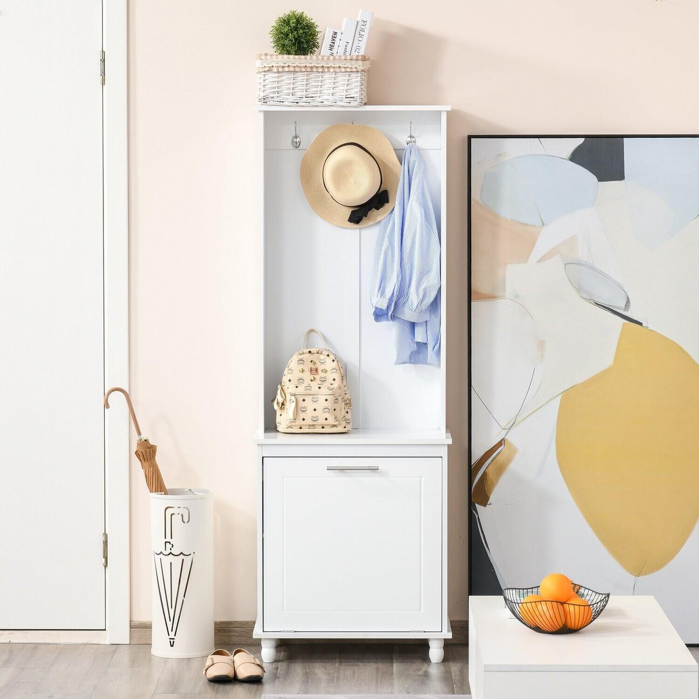 HOMCOM® Garderobenständer Kleiderständer Flur Wohnzimmer 4 Einlegeböden Weiss