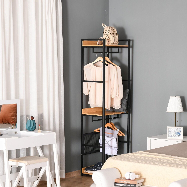 HOMCOM® Garderobenständer Kleiderhaken Garderobe mit Sitzbank + Stauraum Baum-Design Zweige 6 Haken