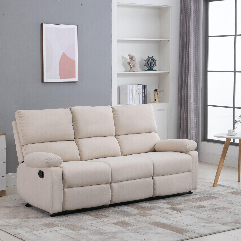HOMCOM® 3-Sitze Fernsehsofa Relaxliege verstellbare Rückenlehnen modern Leinenstoff