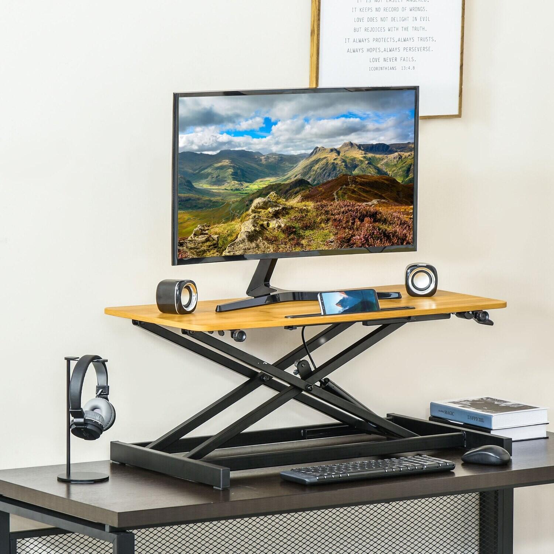 VINSETTO Stehpult mit Tastaturablage Schreibtisch höhenverstellbar