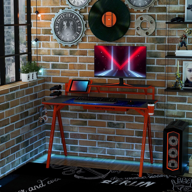 HOMCOM® Gaming Tisch Schreibtisch Computertisch Arbeitstisch Möbel E-Sport Stil ohne Stuhl