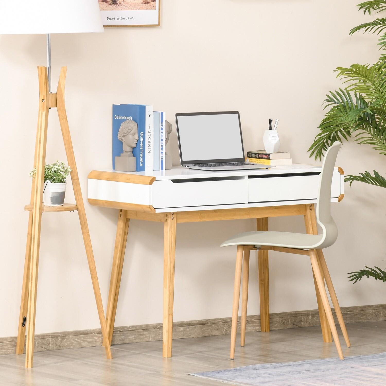 HOMCOM® Schreibtisch Computertisch Bürotisch mit 2 Schubladen natürliches Design Bambus