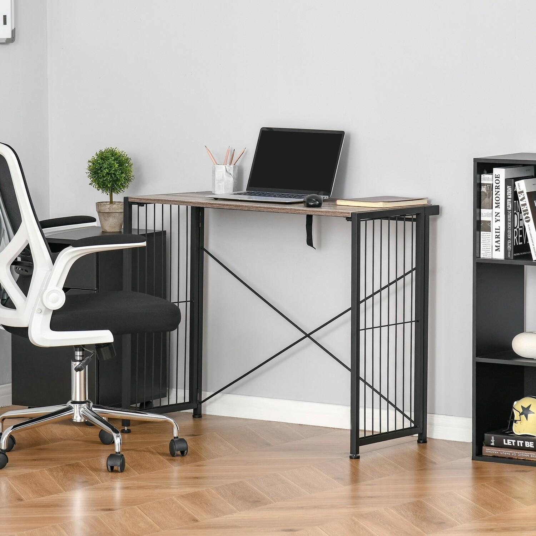 HOMCOM® Schreibtisch PC Tisch Computertisch klappbar Rustikales Braun+ Schwarz