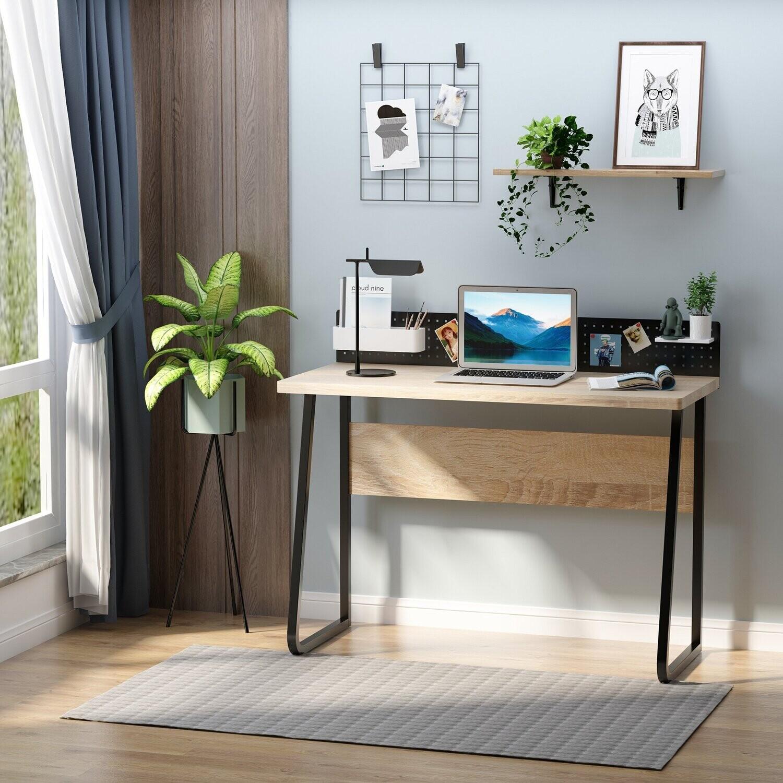 HOMCOM® Schreibtisch Bürotisch Computertisch mit Stecktafel Spanplatte Naturholz+Schwarz