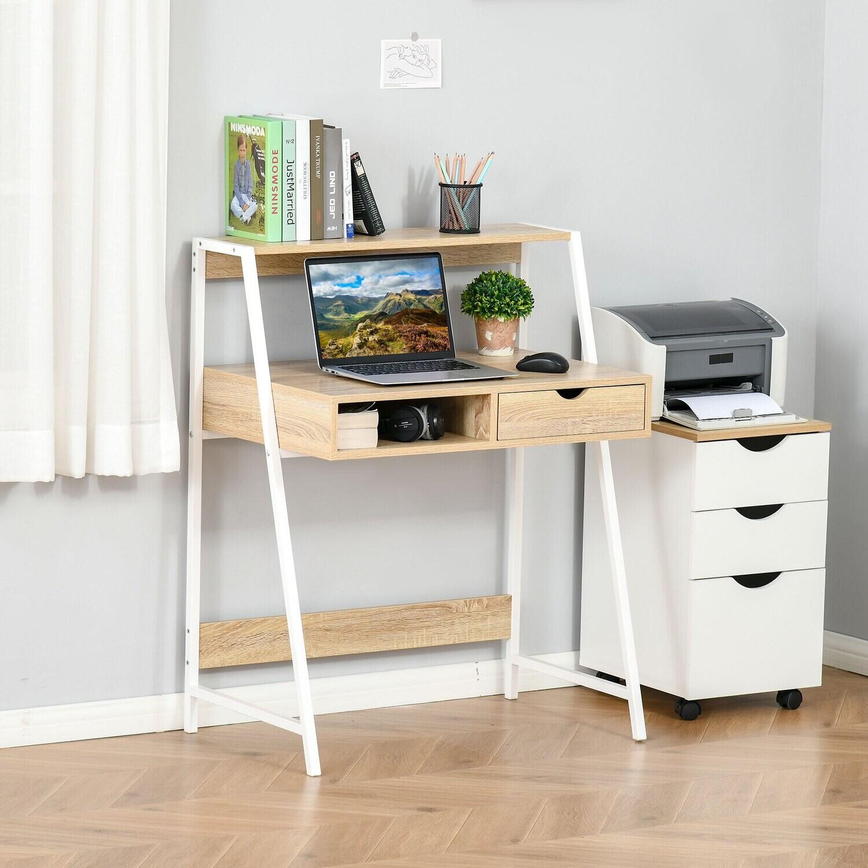 HOMCOM® Schreibtisch Bücherregal mit Schublade Spanplatte Natur 80x 50x100cm