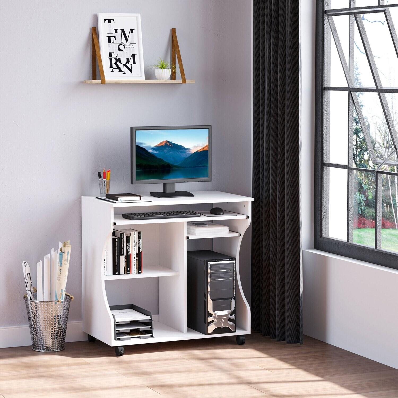 HOMCOM® Mobiler rollbar Schreibtisch Computertisch Tisch Arbeitstisch mit Ablage Weiss