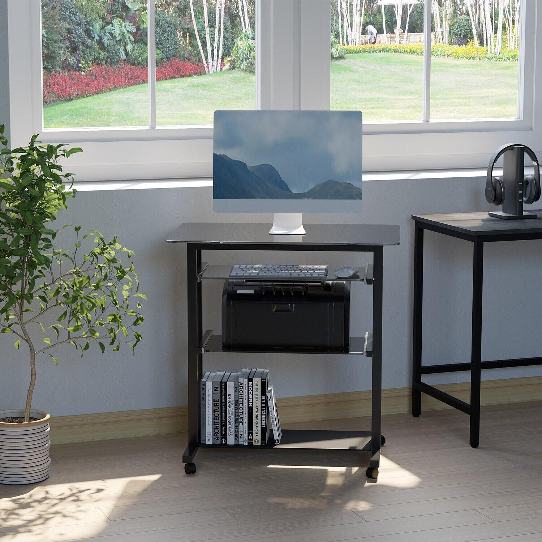 HOMCOM Computertisch mit Tastaturablage Metall Glas