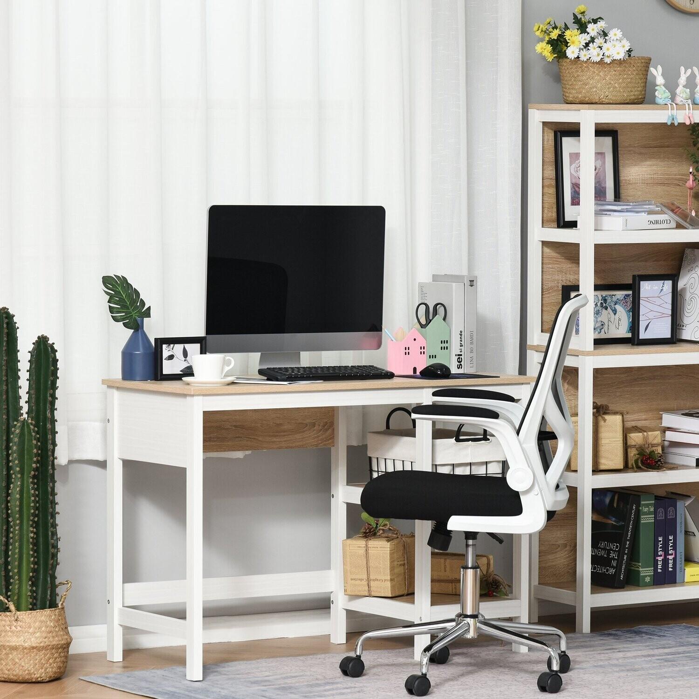 HOMCOM® Schreibtisch mit 2 Ebenen Regal Computertisch Bürotisch MDF Natur+Weiss