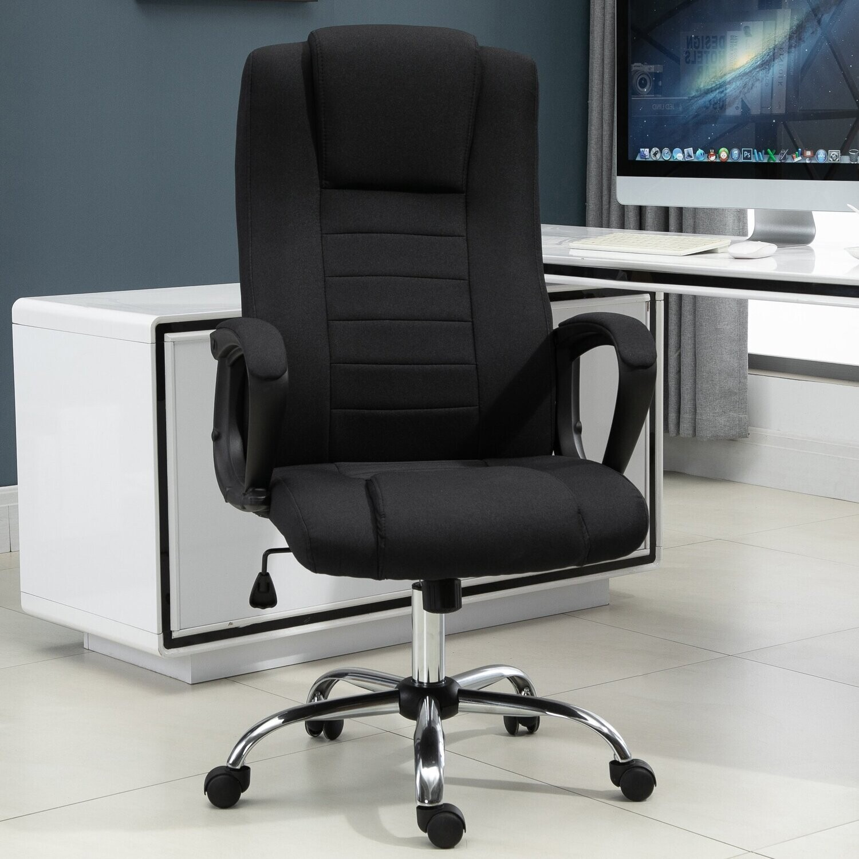Vinsetto® Bürostuhl Computerstuhl mit Wippenfunktion höhenverstellbar Leinen-Touch