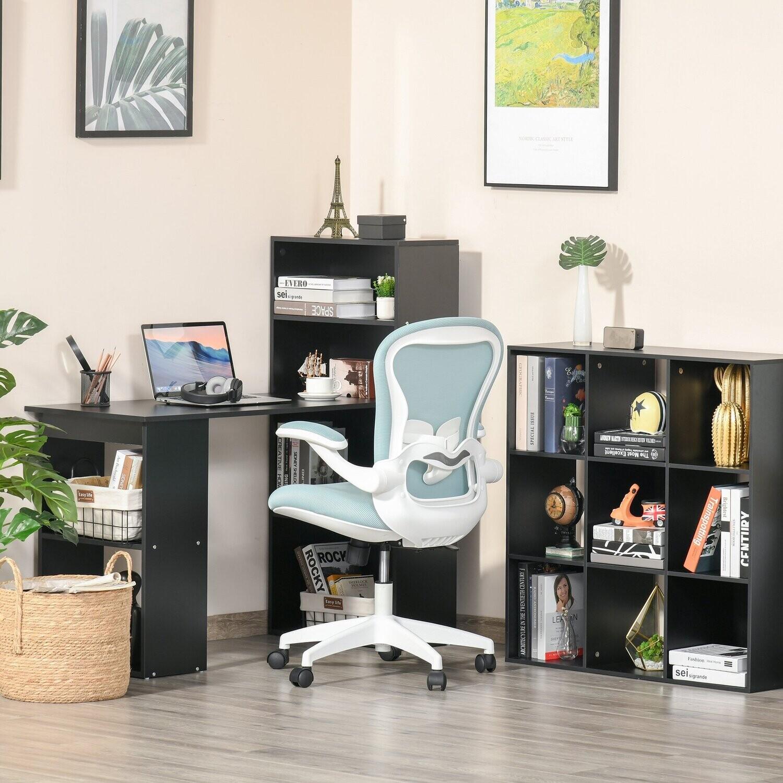 Vinsetto® Bürostuhl Home-Office Schreibtischstuhl höhenverstellbar Nylon Mesh Blau+Weiss