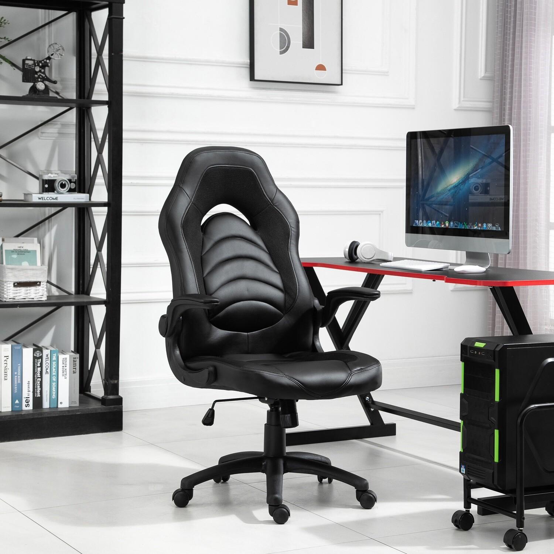 Vinsetto® Gamingstuhl mit Wippfunktion höhenverstellbarer Bürostuhl Kunstleder Schwarz