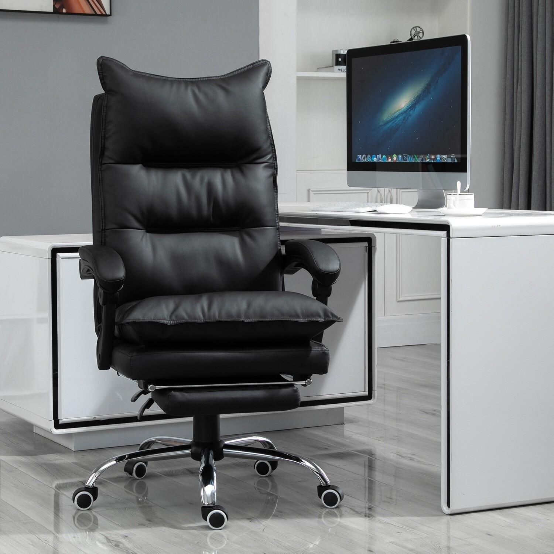 Vinsetto® Bürostuhl mit Fußstütze Schreibtischstuhl Rückenlehne Kunstleder Schwarz