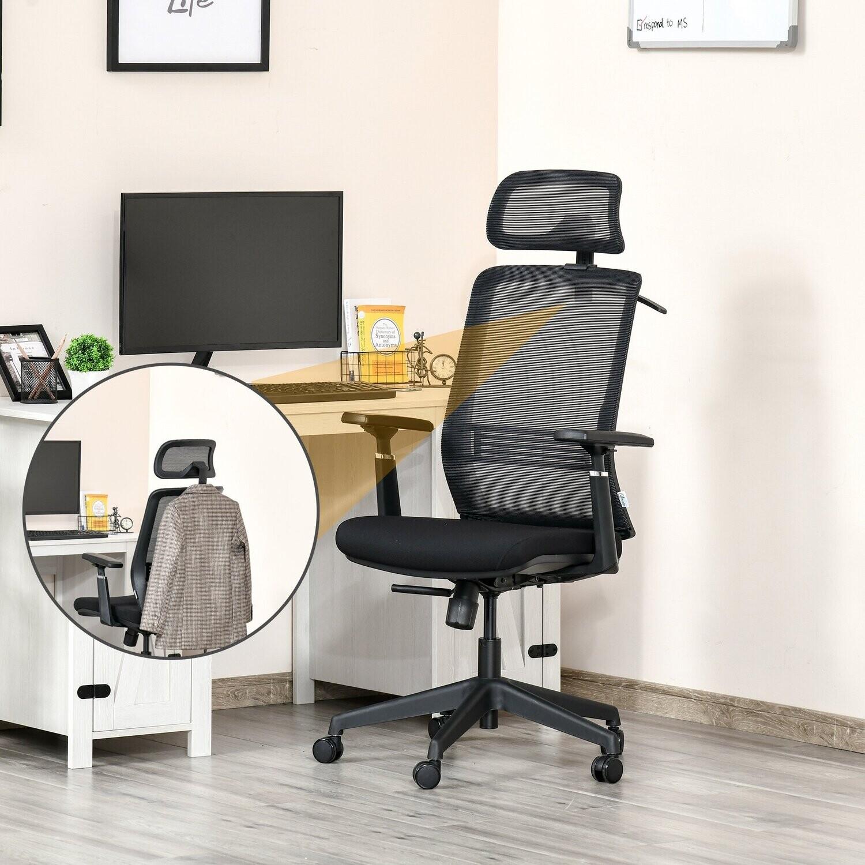 Vinsetto® Bürostuhl Schreibtischstuhl mit Kopfstütze Kleiderbügel höhenverstellbar Nylon
