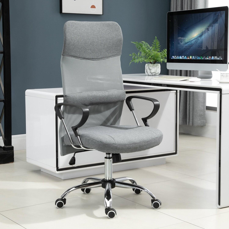 Vinsetto® Drehstuhl Büro 58,5 x 66 x 115-124 cm Leinen Grau