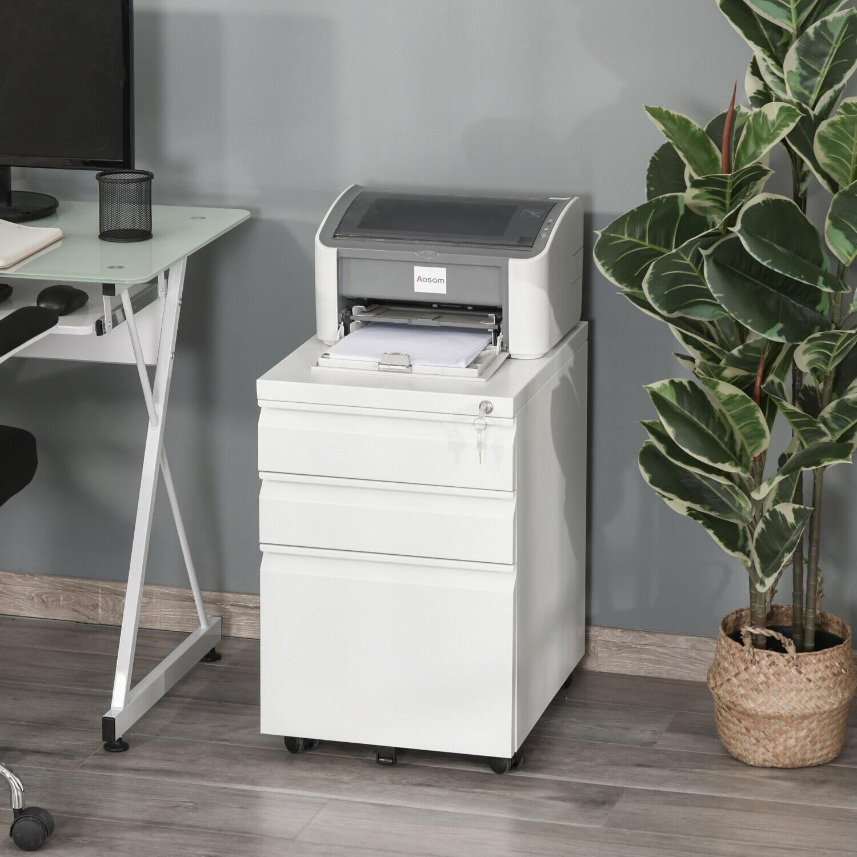 Vinsetto® Aktenschrank Büroschrank Bürocontainer mit 3 Schubladen Räder Stahl Weiss