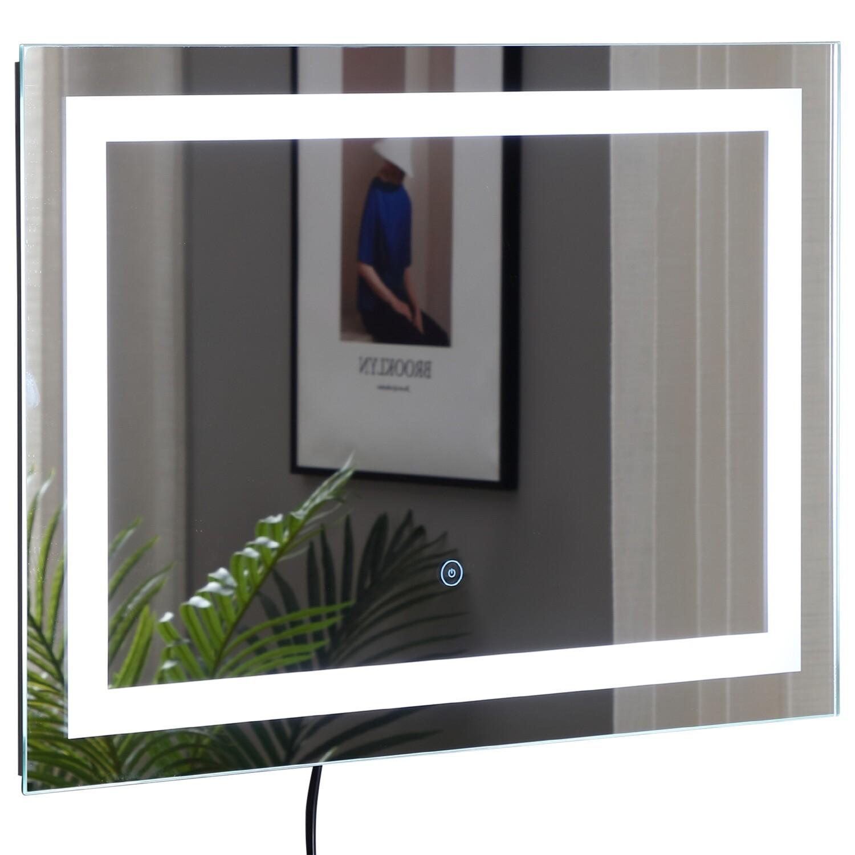 HOMCOM® LED-Badspiegel | Wandspiegel | Lichtspiegel | 50 x 70 x 4 cm