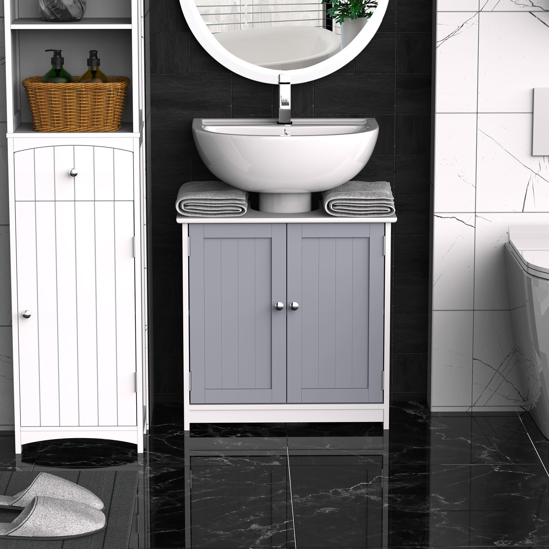 kleankin® Waschbeckenunterschrank Badezimmerschrank mit 2 Türen Regal verstellbar MDF