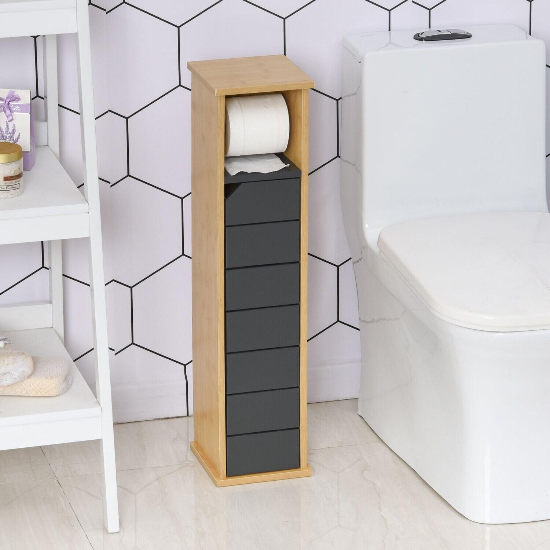 HOMCOM® Schlanker Badezimmerschrank Badmöbel mit Tür Griff MDF Bambus Braun+Grau