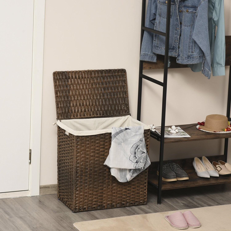 Outsunny® Polyrattan Wäschekorb Wäschebox mit Deckel Wäschesack Griffe Braun