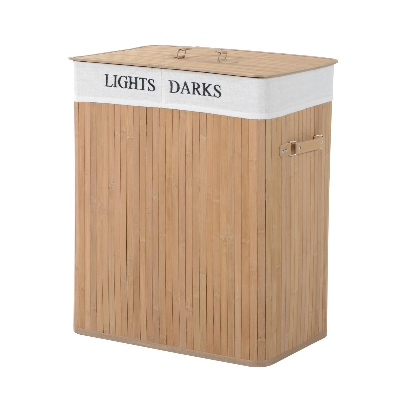 HOMCOM® 100L Wäschekorb Wäschebox Wäschesammler Wäschesortierer 2 Fächer Bambus