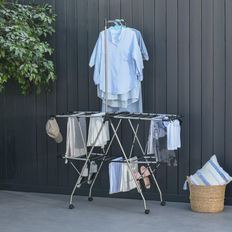 HOMCOM® XXL-Kleiderständer zusammenklappbar Wäschetrockner Standtrockner Edelstahl Silber