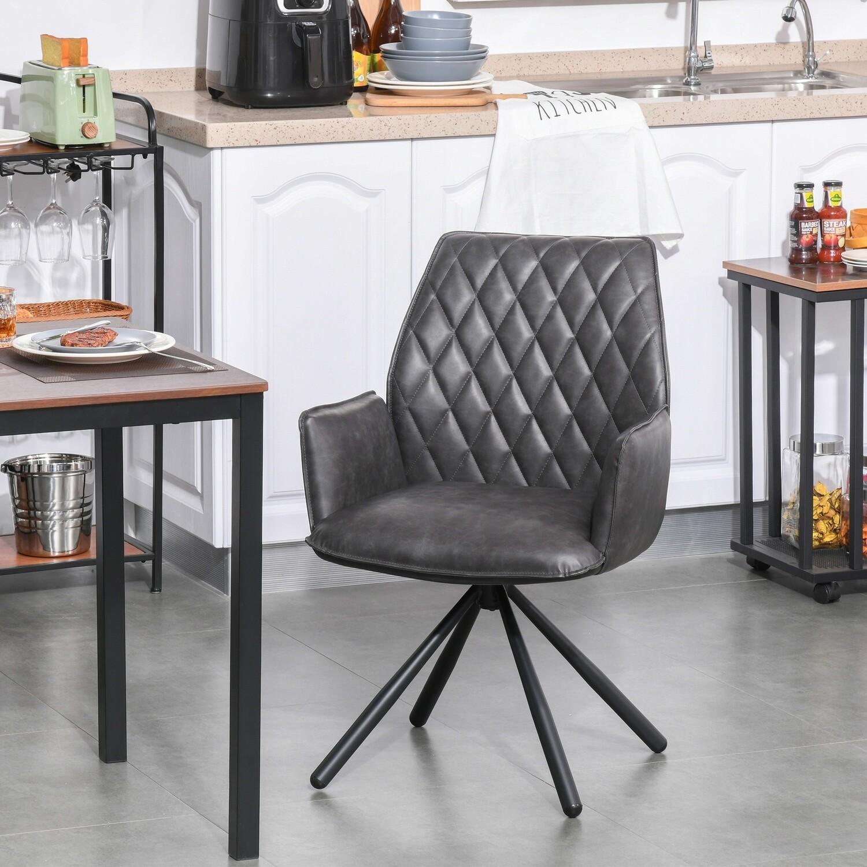HOMCOM® Esszimmerstuhl 360° drehbar Küchenstuhl Armlehnstuhl Kunstleder Stahl Grau