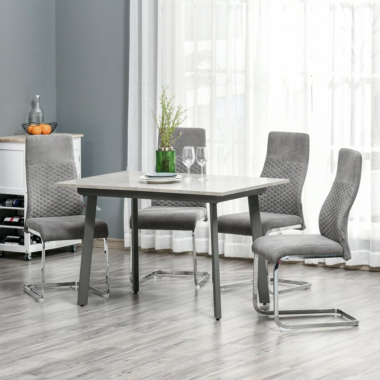HOMCOM® Esszimmerstühle mit Rückenlehne S-Förmige Essgruppen-Stühle Stahl Grau
