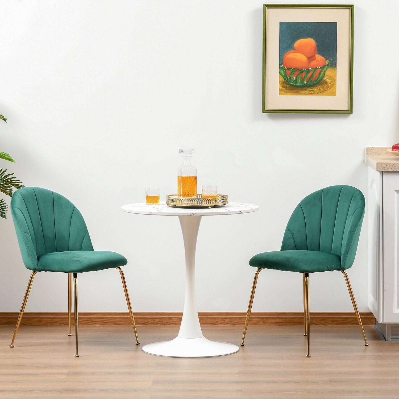 HOMCOM® 2er-Set Esszimmerstühle Küchenstuhl mit Rückenlehne Grün+Gold