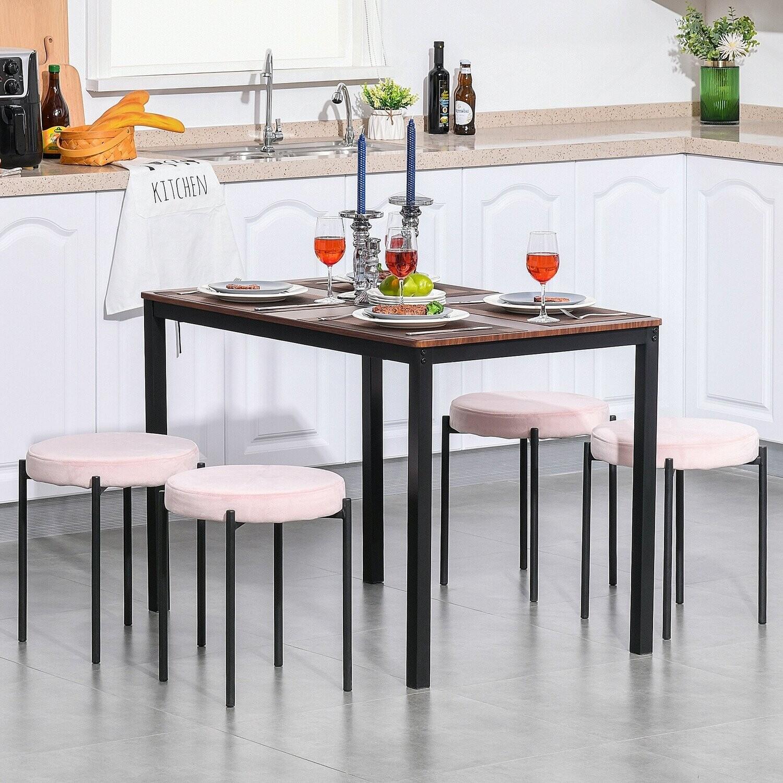 HOMCOM® 4er-Set Esszimmerhocker Stapelhocker Barhocker modern Polyester Stahl Rosa
