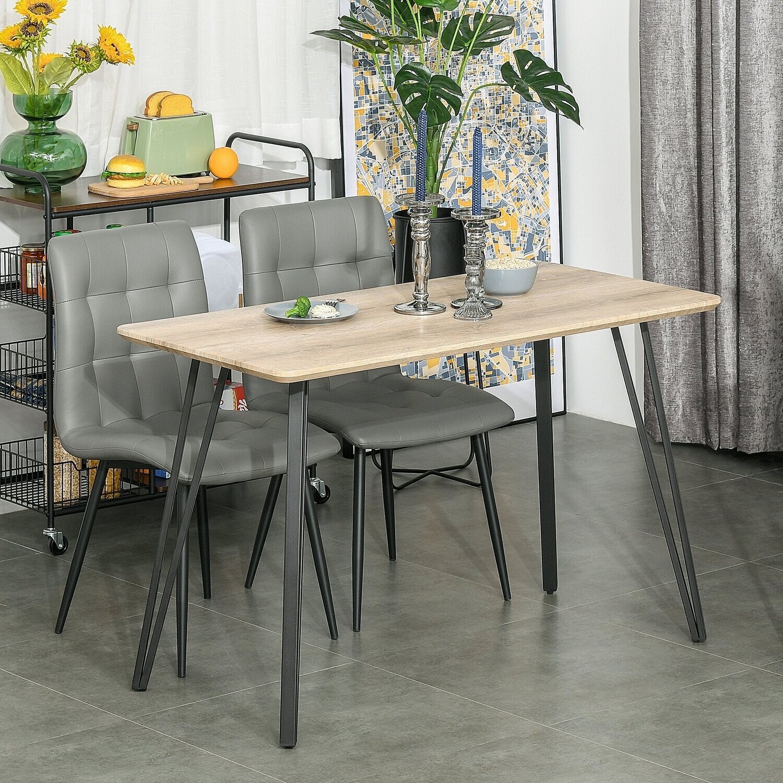 HOMCOM® Esstisch mit Haarnadel-Design Küchentisch Esszimmertisch Industriestil Stahl MDF