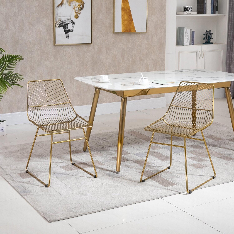 HOMCOM 2er-Set Esszimmerstühle Metall Gold 46 cm x 56 cm x 80 cm